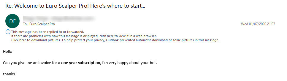 Euro Scalper Pro Review 'very happy about your bot' (Click image to enlarge)