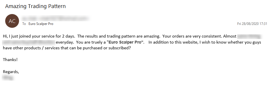 Euro Scalper Pro Review 'results are amazing' (Click image to enlarge)