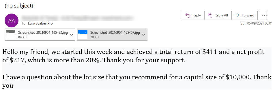 Euro Scalper Pro Review '20% in one week' (Click image to enlarge)